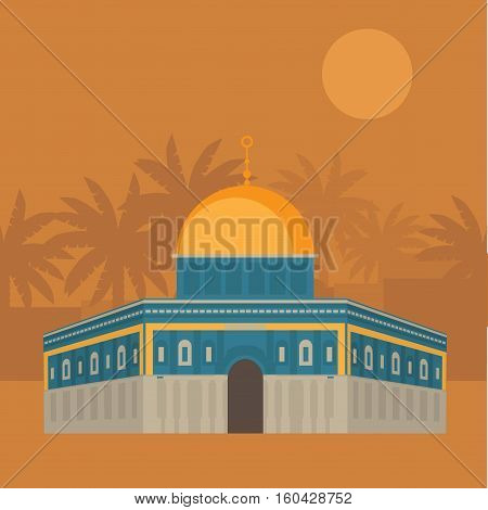 Al-Aqsa Mosque in Jerusalem Israel. Dome of the rock. Religios architecture