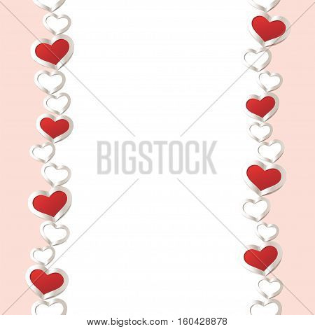 Valentines Day seamless Background. Red Hearts Border Frame. Frame with vertical Space for your Text.