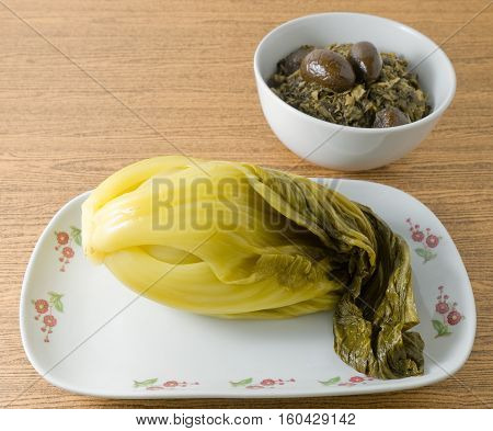 Chinese Traditional Food Pickled Green Cabbage with Chopped Pickled Chinese Cabbage.