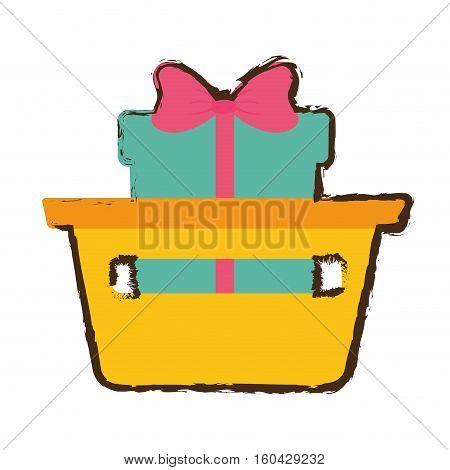 basket shop with gift box ribbon sketch vector illustration eps 10