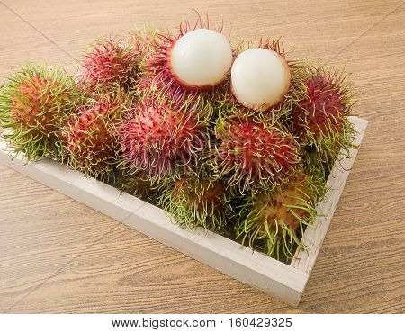 Fresh Fruits Delicious Ripe and Sweet Refreshing Rambutan Served on Wooden Tray.
