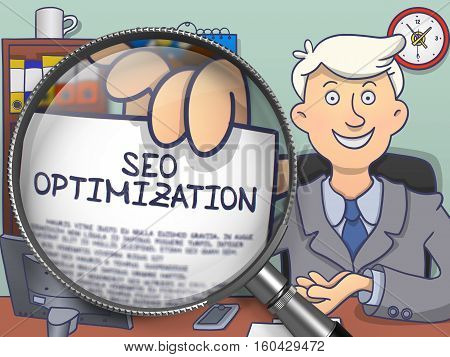 SEO Optimization. Paper with Text in Businessman's Hand through Magnifying Glass. Multicolor Modern Line Illustration in Doodle Style.