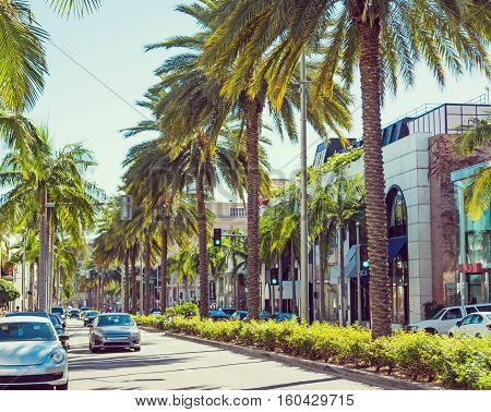 Rodeo drive on a sunny day California