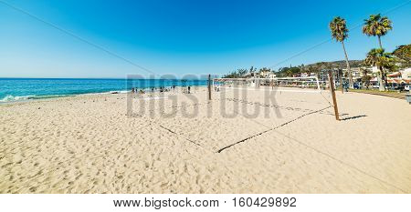 beach volley court in Laguna Beach California