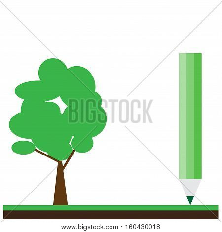 Hand drawn pencil and tree vector on backgraund