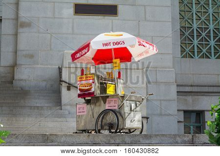 hot dogs cart in downtown Los Angeles California
