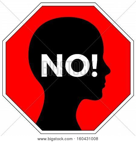 No means No. Concept sign for anti-rape campaign to rise awareness to prevent sexual assault of women