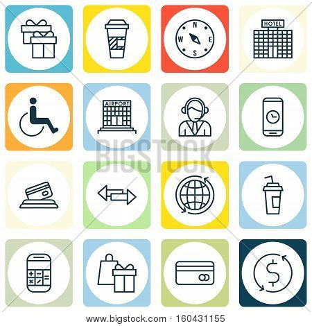 Set Of 16 Traveling Icons. Can Be Used For Web, Mobile, UI And Infographic Design. Includes Elements Such As Building, Mobile, Crossroad And More.