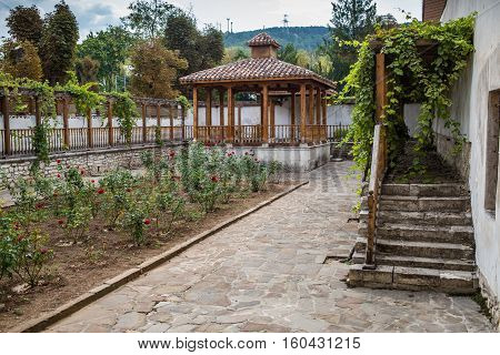 Bakchchisaray, Crimea, Russia - September 2016: Garden in Khan palace in Bakhchisaray
