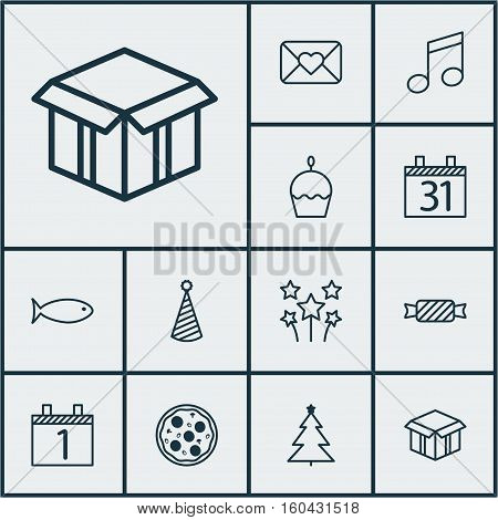 Set Of 12 Happy New Year Icons. Can Be Used For Web, Mobile, UI And Infographic Design. Includes Elements Such As Date, Pizza, Muffin And More.