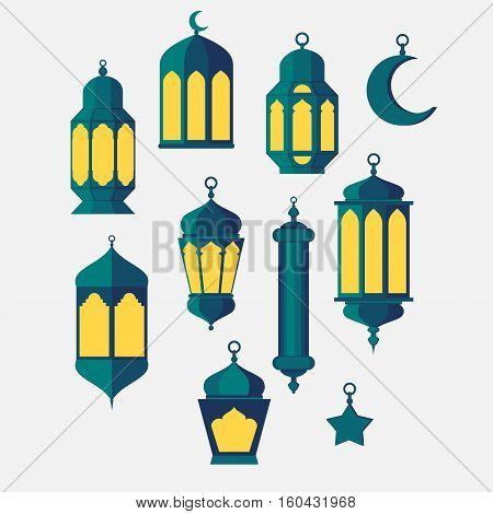 Ramadan Islamic Holy Nights Theme Design background lantern saint fest arabian and turk religion culture set