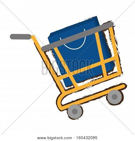yellow shopping cart online papper bag gift sketch vector illustration eps 10