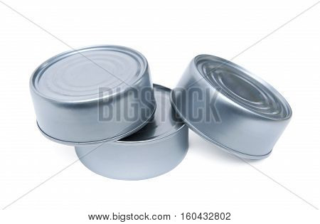 Three cans isolated on the white background