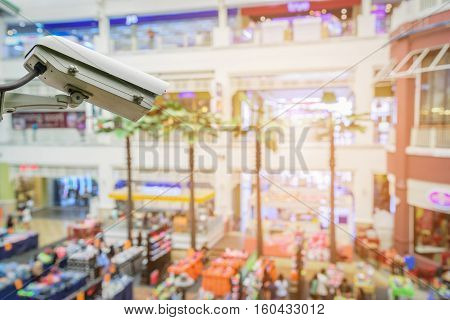 Closed Circuit Television camera monitoring of supermarket shopping mall