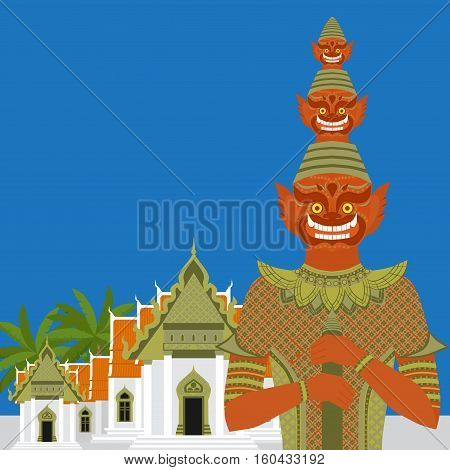 Thai Temple Guardian Giant Thailand Yaksha demon statue Buddhism symbol in Bangkok Asian spirit sculpture