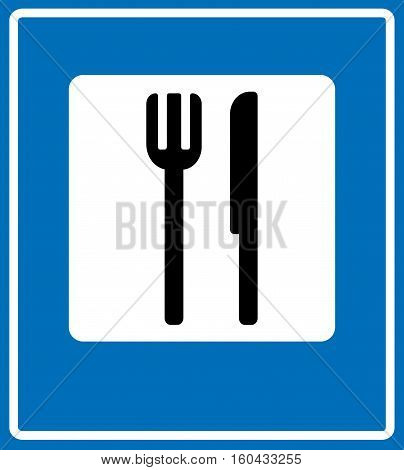 Food item road sign isolated on white background. Knife and fork vector symbol. Place for eating, cafe, dining place for traffic