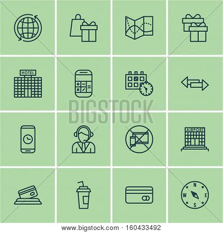 Set Of 16 Travel Icons. Can Be Used For Web, Mobile, UI And Infographic Design. Includes Elements Such As Building, Globe, Calculation And More.