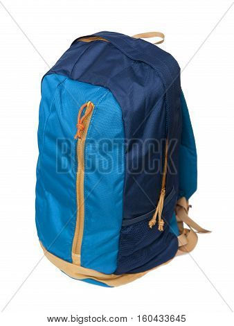 Blue backpack isolated on the white background