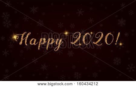 Happy 2020!. Golden Glitter Hand Lettering Greeting Card. Luxurious Design Element, Vector Illustrat