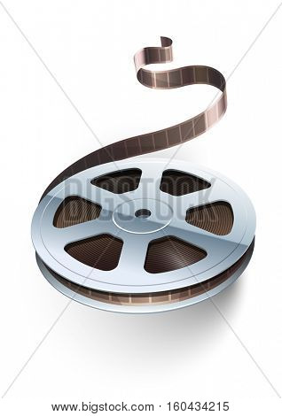 Film tape cinematography video movie disk isolated for classic vintage cinema theatre. Vector illustration. On white transparent background