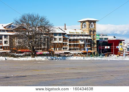 Bansko, Bulgaria - November 30, 2016: Hotel with tower in bulgarian ski resort Bansko
