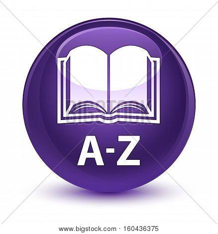 A-z (book Icon) Glassy Purple Round Button