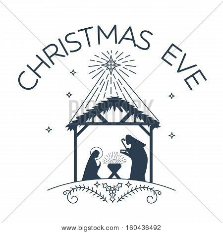 Vector illustration of happy Christmas Eve on white background. Happy Christmas Eve logo for greeting card template