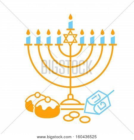 Vector illustration of happy Hanukkah on white background. Judaism candelabrum symbol. Happy Hanukkah logo for greeting card template