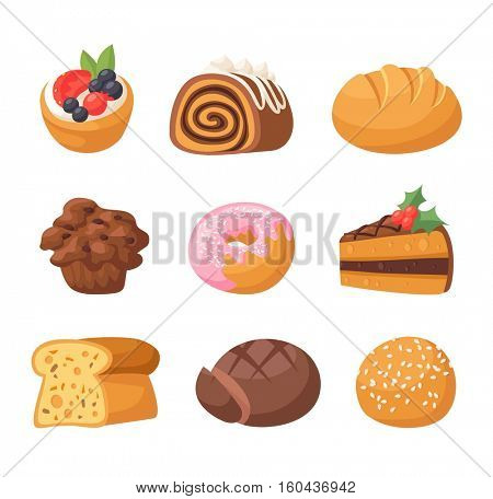 Cookie cakes isolated vector.
