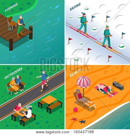 Elderly people spending time outdoors in different places 2x2 icons set isometric isolated vector illustration