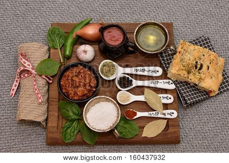 Italian food. Foccacia, bolognese, Spices. Top view. Healthy food.