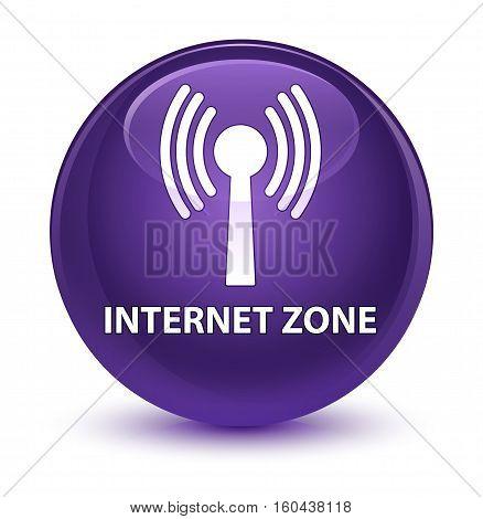 Internet Zone (wlan Network) Glassy Purple Round Button