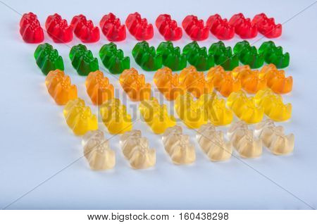 Range of red green orange yellow gelatin sweets lay in lines on white background