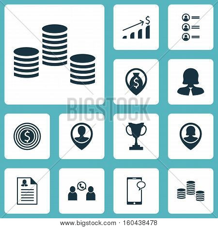 Set Of 12 Human Resources Icons. Can Be Used For Web, Mobile, UI And Infographic Design. Includes Elements Such As Mobile, Job, Applicants And More.