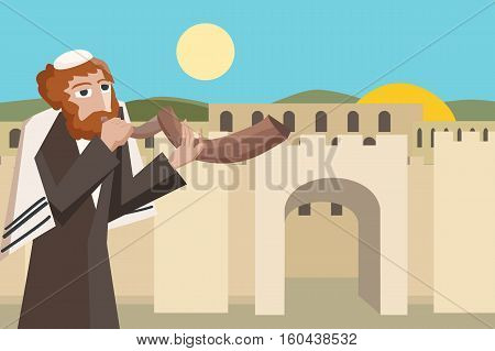 jew blowing the shofar at jerusalim old city  - colorful vector cartoon illustration