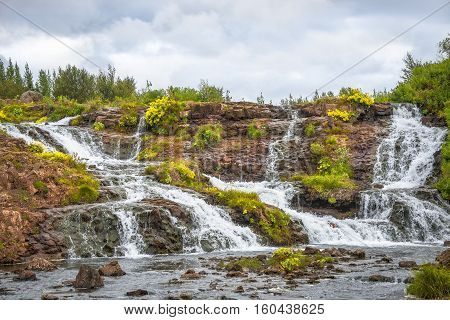 Wonderful Waterfal In Iceland In Autumn Colors