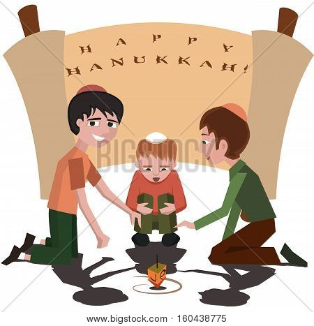 jewish kids with spinning top, happy hanukkah - vector cartoon illustration