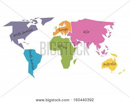 Simplified world map divided to six continents - South America, North America, Africa, Europe, Asia and Australia - in different colors, on white background and with black lables. Simple flat vector illustration.