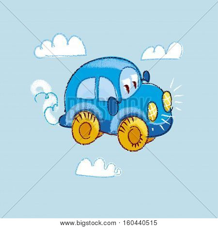 vector illustration of kiddy toy car in the sky