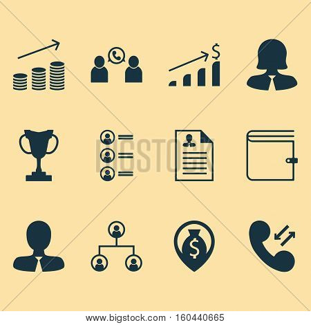 Set Of 12 Management Icons. Can Be Used For Web, Mobile, UI And Infographic Design. Includes Elements Such As Money, Trophy, Applicants And More.