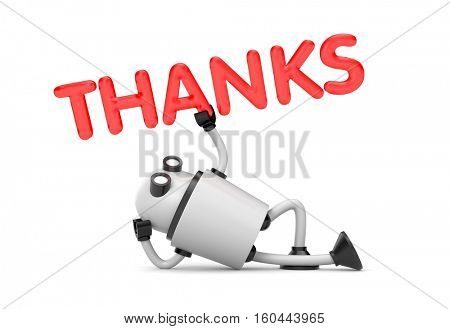 Robot is in a relaxed position holds the word - Thanks. 3d illustration