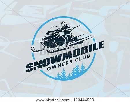 Winter snowmobile emblem on blue background. Vector.