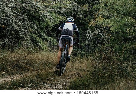 athlete a cyclist on mountainbike rides in woodland competitions in cross-country