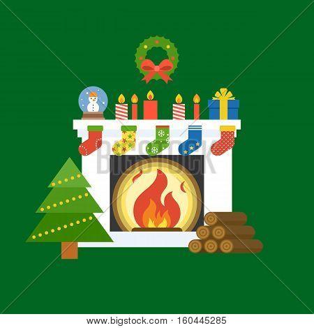 illustration of fireplace, christmas tree, garland, candle, socks, globe glass, present box, firewood for christmas holiday, flat design