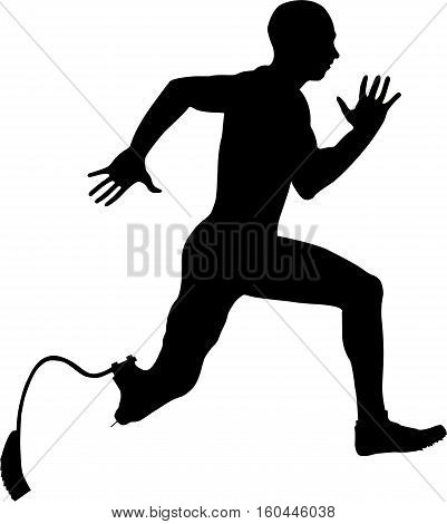 male athlete disabled amputee running Illustrator vector