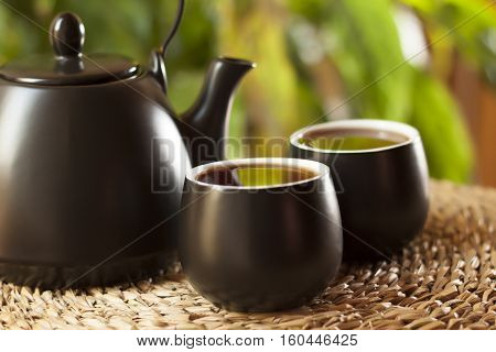 Cups of tea and teapot in the morning