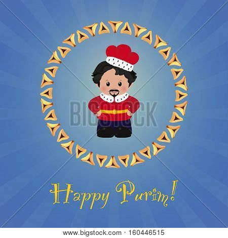 Jewish holiday of Purim. Greeting card with Achashverosh. Happy Purim. Vector illustration of fun characters in cartoon style on blue background.