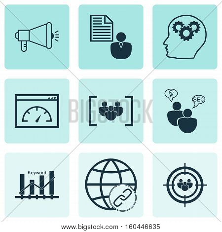 Set Of 9 Advertising Icons. Can Be Used For Web, Mobile, UI And Infographic Design. Includes Elements Such As Ranking, Plan, Keyword And More.