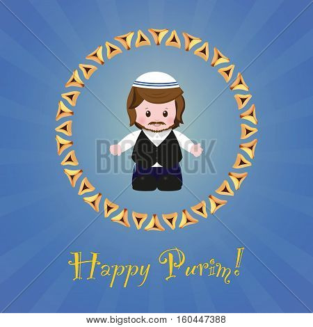 Jewish holiday of Purim. Greeting card with Mordecai. Happy Purim. Vector illustration of fun characters in cartoon style on blue background.