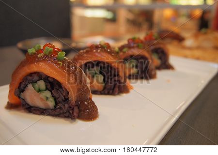 Premium Japanese Salmon Roll in restaurant, Tokyo, Japan
